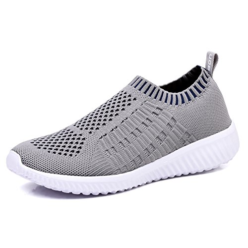 TIOSEBON Women's Athletic Walking Shoes Casual Mesh-Comfortable Work Sneakers 6 US Light Gray