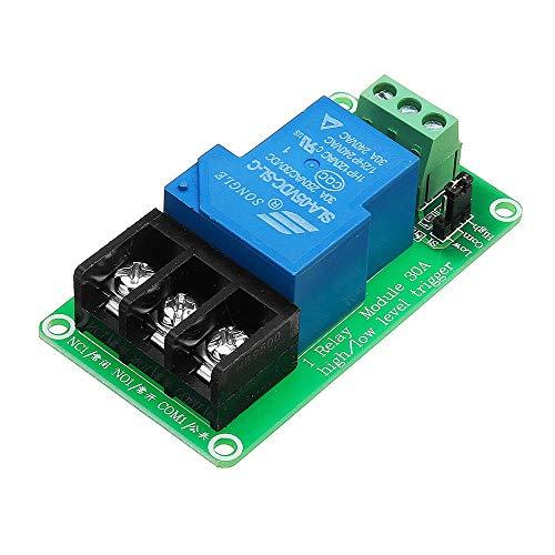 Módulo de relé, Soporte de Alta y de Nivel bajo gatillo del Interruptor de 12V 30A 1 Canal Optoacoplador Aislamiento Módulo de relé