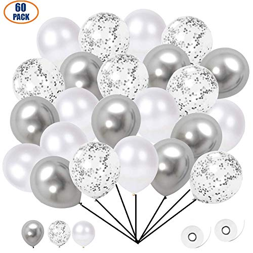 Ourworld 60 Stück Luftballons, Konfetti Ballons Matellic Latex Ballons Helium Ballons für Hochzeit Mädchen Kinder Geburtstag Party Dekoration (Silber)