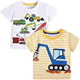 VASCHY T-Shirts for Little Boys, Kids Size 2-6T Boys Pattern Cotton Short Sleeve Tee Shirts for Kids Toddlers 2pcs Set Cranes