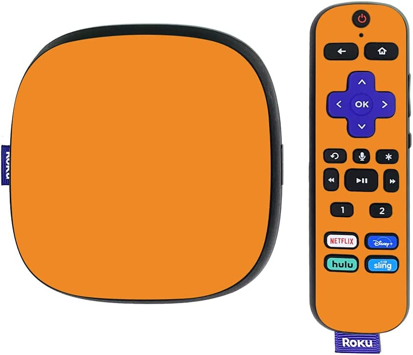 MightySkins Skin Compatible with Roku Ultra HDR 4K Streaming Media Player (2020) - Solid Orange | Protective, Durable, and Unique Vinyl Decal wrap Cover | Easy to Apply | Made in The USA