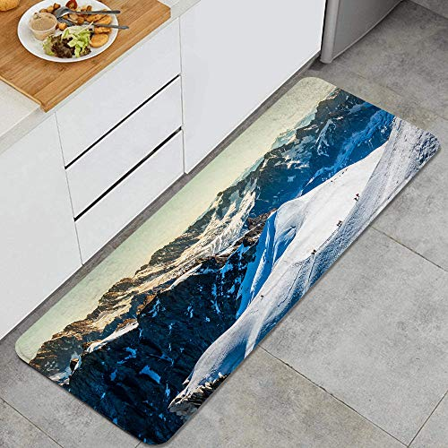 FOURFOOL Standing Mat Kitchen Rug,Mont Blanc Chamonix French Alps France Europe Tourists Climbing Mountain,Entry Floor Carpet Door Mat Runner,Standing Rug for Laundry,Floor Home,Office,Sink