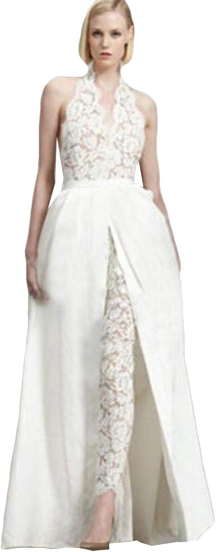 Xixi House 2021 Halter Wedding Dresses for Bride Lace Jumpsuit with Detachable Train