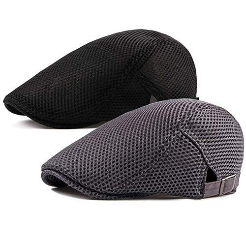 Men's Breathable Mesh Summer Hat Flat Cap Beret Ivy Gatsby Newsboy Cabbie Caps, B-grey/Black, One Size