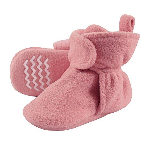 Hudson Baby Unisex Cozy Fleece Booties, Strawberry Pink, 0-6 Months