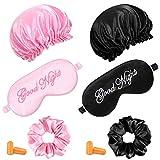 6 Pieces Silk Sleep Mask Set 2 Cute Funny Soft Silk Eye Shade Covers, 2 Silk Lined Sleep Cap Frizzy Hair Bonnet, 2 Pairs Earplugs for Night Sleep (Light Pink, Black)