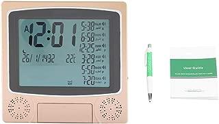 Famus Digital Automatic Prayer Azan Alarm Clock Table Desk Clock Gold para Sala de Estar, Dormitorio