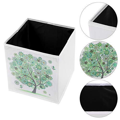 DIY Diamond Painting Kit with 9.8x9.8x9.8in Foldable Storage Box, 5D Crystal Rhinestones Paint by Number Kits Gifts Art Craft for Children Adults