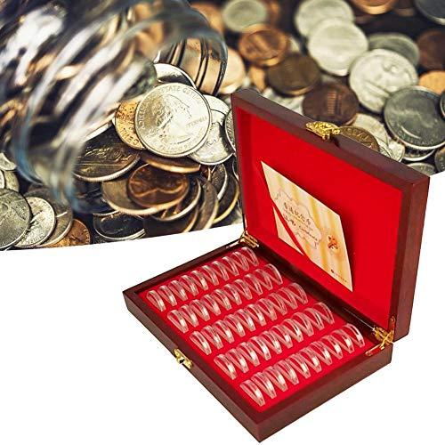 Fancylande opbergdoos voor munten, 50 ronde houten planken, voor 25 munten, 27 stuks
