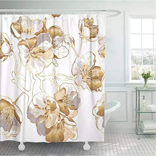 Cortina de ducha de metal con flores de cerezo doradas, color plateado, blanco y dorado claro, diseño floral de Sakura