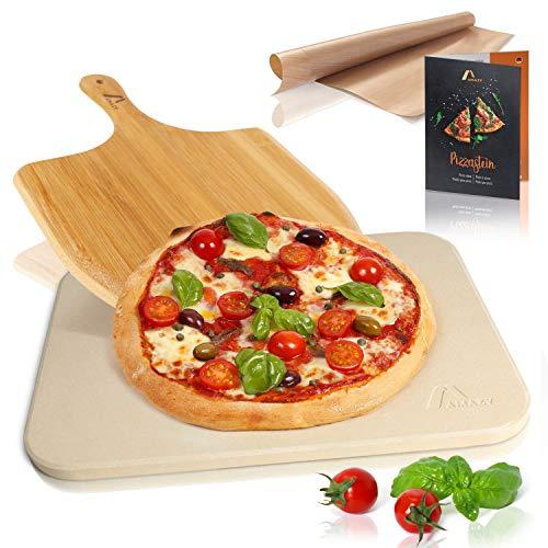 Amazy Pierre à pizza avec pelle à pizza – Plaque de cuisson de pâtes à pain et à pizza au goût authentique - Cordiérite pour four et grill avec raclette à pizza (38 x 30 x 1,5 cm)