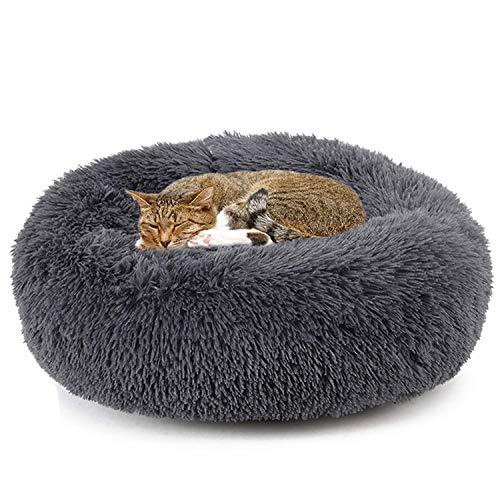 YUPPIE TONE Haustier Katzenbett Flauschig/Hundebett Winter Weichen,Warmen Rund Schlafsofa für Hund Katze,Waschbar,Kuschelkissen Katze Hundekörbchen - Dunkelgrau 70cm