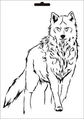 UMR-Design W-635 Wolf Wand/Textilschablone Grösse A5