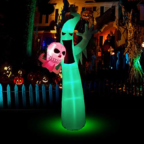 BOZOYYGH 8.9 Ft Halloween Inflatables Scary Ghost with Color Changing LEDs...