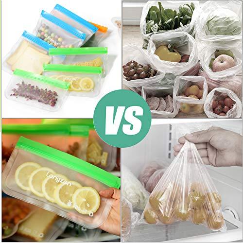 Reusable ziplock Bags,longzon【10 pack】Sandwich bags, Reusable food storage bag, large lunch plastic freezer snack reuseable bag BPA free, FDA food grade, better than silicone ziplock bags.