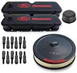 Proform 302-500 Black Crinkle Engine Dress-Up Kit with Red Ford Racing Logo for Ford 289-3...