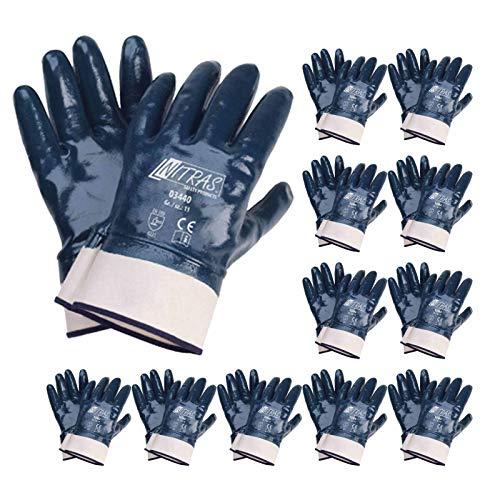 NITRAS 03440 Nitrilhandschuhe Arbeitshandschuhe Handschuhe mit Stulpe - 12 Paar, Größe:9 (L)