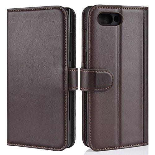 HualuBro BlackBerry KEY2 Hülle, Echt Leder Leather Wallet HandyHülle Tasche Schutzhülle Flip Hülle Cover mit Karten Slot für BlackBerry Key 2 Smartphone (Braun)
