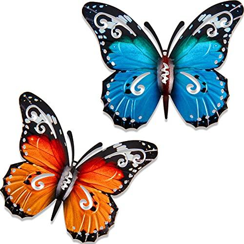2 Pièces Grandes Décorations de Jardin Papillon en Métal Extérieur Papillon en Métal d'art Mural Extérieur pour Murs Extérieurs Clôtures, 27 x 22 cm, Bleu et Jaune