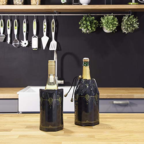 Vacu Vin VacuVin 3887360 Enfridor Activo Enfriador botellas de vino y cava, color negro clásico, 29.2x22x3 cm