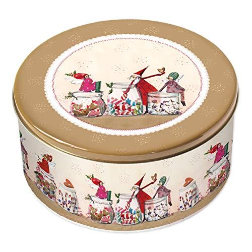 Grätz Verlag Keksdose/Plätzchendose Retro Dose für Kekse, rund, rot, aus Blech, ca. 10,5 cm hoch (Weihnachtsleckereien)