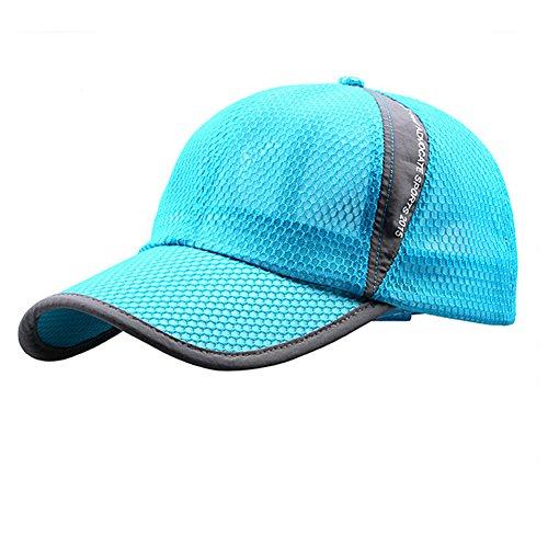 Schnell trocknende Mesh-Baseballkappe für Damen und Herren, atmungsaktiv, Sonnenschutz, Jungen Damen Unisex-Erwachsene Mädchen Herren, seeblau, Large