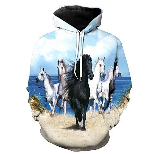BRILIGHTEN Pferd 3D Klassischen Gedruckt Kapuzenpullover Unisex Hoodies Geschenk Langarm Bunte Pullover Herbst Kapuzenpulli Sweatshirt,L