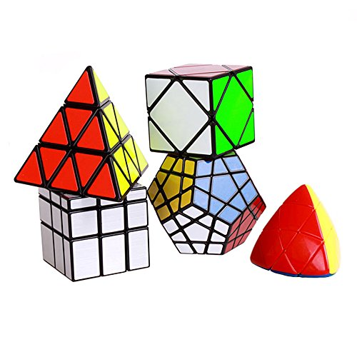 Wings of Wind - Cubo mágico de Cubos Irregulares, Skewb Liso, Megaminx, Pyraminx, Espejo de Plata, Cubos del Rompecabezas de Mastermorphix (Paquete de 5)