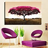 wZUN HD Impreso árbol de Hoja roja Paisaje Pintura al óleo Abstracta Sala de Estar Pintura de Pared sobre Lienzo Art Deco Safa decoración del hogar Regalo 50x75cm