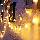 Luces LED Decoracion de Globo 80 Bombilla 10m Guirnalda Cadena de Luz Blancas Cálida Colgar Tira Led Pilas para Decorativa Interior, Exterior, Habitacion, Fiesta de Navidad, Bodas, Cumpleaños