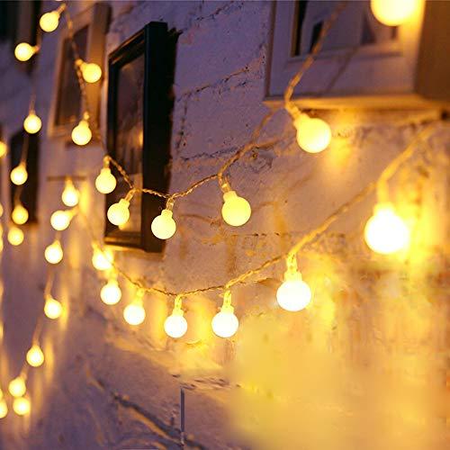 10m 80 LED Guirlande Lumineuse Boule Blanc Chaud Guirlandes Lumineuses LED à Pile Décoration Extérieur et Intérieur, Mariage, Maison, Jardin,Festival, Arbre de Noël