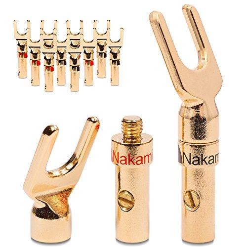 UC-Express 12x High End Nakamichi Kabelschuhe Gabelschuhe für Kabel bis 6mm² 24K löt- oder schraubbar komplett vergoldet