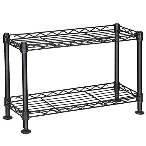 SONGMICS Spice Rack, 2-Tier Sturdy Kitchen Shelf, Freestanding Jar Rack, for Jars, Bottles, and Cans, Metal Storage Shelf Loads up to 88 lb, 15.7 x 5.9 x 10.4 Inches, Black ULGR21BK