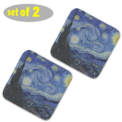 2 almohadillas cuadradas para sillas de cocina de felpa, almohadillas antideslizantes para asientos al aire libre, cojines para sillas gruesos de color sólido, cojines de asiento de 40 x 40 cm, la noche estrellada 1889 Van Gogh