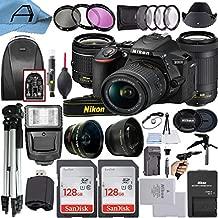 Nikon D5600 DSLR Camera 24.2MP Sensor with NIKKOR 18-55mm VR and 70-300mm Dual Lens, 2 Pack SanDisk 128GB Memory Card, Backpack, Tripod, Slave Flash Light and A-Cell Accessory Bundle (Black)