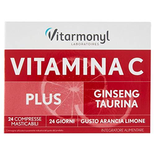 Vitarmonyl Vitalità Compresse Masticabili di Vitamina C Plus, Ginseng, Taurina, 24 Compresse