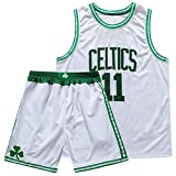 CURVEASSIST Conjuntos De Camisetas De Baloncesto Boston Celtics # 11 Kyrie Irving The New Season Short De Verano Bordado para Hombres Ropa Deportiva De Secado Rápido Blanco,White-S