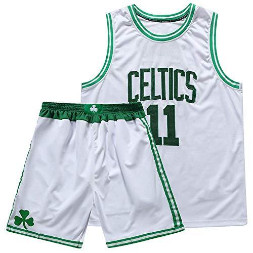 CURVEASSIST Conjuntos De Camisetas De Baloncesto Boston Celtics # 11 Kyrie Irving The New Season Short De Verano Bordado para Hombres Ropa Deportiva De Secado Rápido Blanco,White-S