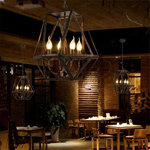 Hanglamp ijzer kroonluchter hanger retro e14 plafond lamp onregelmatige polygoon lampenkap loft stijl vintage industriële hoofd bakken verf roest kleur ijzer opknoping licht