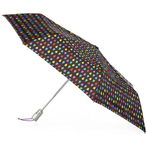totes Automatic Open Close Water-Resistant Travel Folding Umbrella with Sun Protection, Black Rain