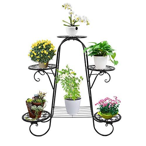 Metal Flower Pot Plant Stand Balcony Floor-Standing Multilayer Shelf Rack,Multi Layer Flower Shelf Rack Higher and Lower Plant Holder for Plants in Patio Balcony Garden Living Room