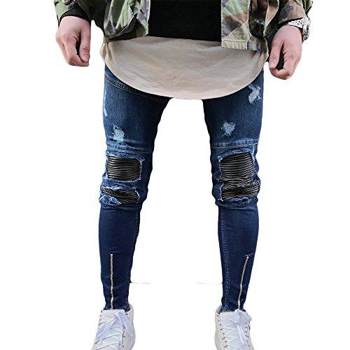 Just No Logo Men's Skinny Ripped Moto Biker Jeans(Blue,34W)