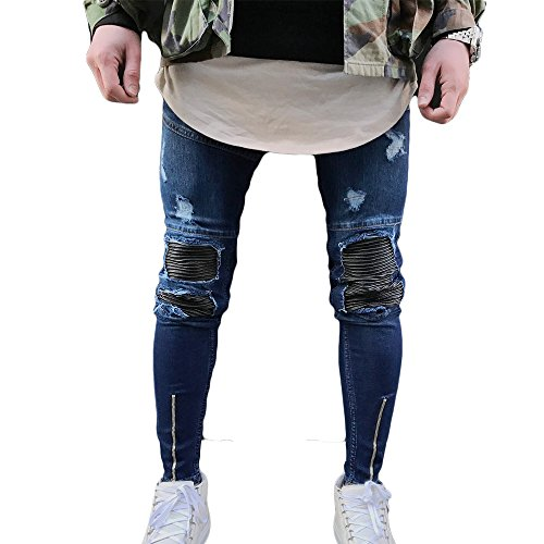 Just No Logo Men's Skinny Ripped Moto Biker Jeans(Blue,30W)