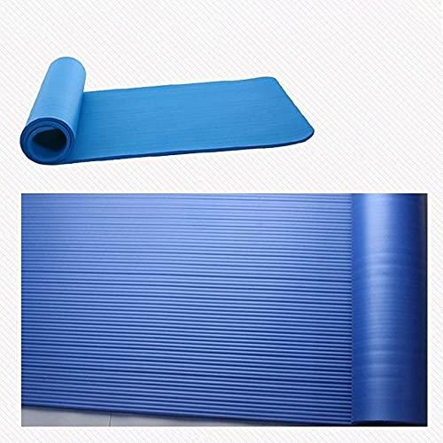 Esterilla de yoga para mujeres y hombres, antideslizante, para ejercicio, gimnasio, pilates, entrenamiento, camping, 183 cm x 61 cm x 1 cm (azul)