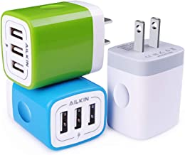 USB Plug in Wall Charger, Charging Block, 3Pack Ailkin 3.1A Fast Charge 3- Port Power Adapter Cube Box Brick Base Compatible with Phone, Pad, LG, Honor, Samsung, Kindle Fire, Blue, All USB