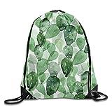 Etryrt Mochilas/Bolsas de Gimnasia,Bolsas de Cuerdas, Drawstring Backpack Green Cactus Drawstring Backpack Rucksack Shoulder Bags Training Gym Sack for Man and Women