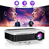 """Smart Home Projector with Bluetooth Wifi,4600 Lumen LED Movie Proyector Compatible with HDMI VGA USB AV DVD Player Fire TV Stick Laptop,Support 150"""" Display/Screen Mirroring/Zoom (Renewed)"""