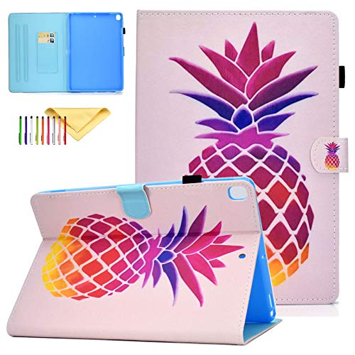 iPad 10.2 Case 2019 7th Generation, Uliking Lightweight Protective Cover [Auto Sleep/Wake] [Multi-Angle Stand] [Cards Holder] Smart Case Fit Apple iPad 10.2' 2019, Magic Pineapple
