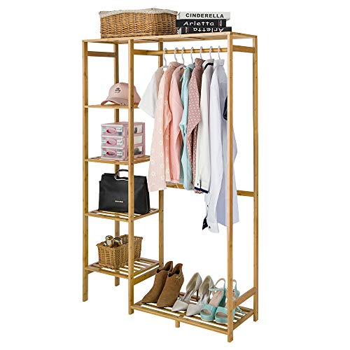 COOGOU Bamboo Wood Clothing Garment Rack with Shelves Clothes Hanging Rack Stand for Child Kids Adults Cloth Shoe Coat Storage Organizer Shelf in Entryway Office Shop Laundry Corner Space Saving
