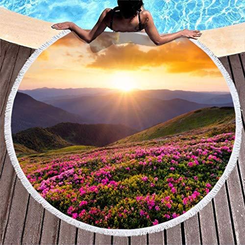 AEMAPE Toalla de Playa Redonda Grande Sunset Mountain Grass Manta de Playa de Microfibra con borlas Tapiz de Tela de Mesa de Picnic para la Playa 59 Pulgadas
